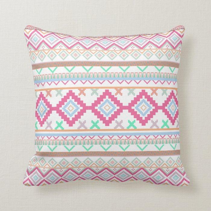 Pink teal Aztec Tribal Diamond geometric Pattern Throw Pillow