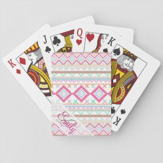 Pink teal Aztec Tribal Monogram geometric Pattern Card Decks