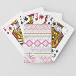 "Pink teal Aztec Tribal Monogram geometric Pattern Playing Cards<br><div class=""desc"">Pink teal Aztec Tribal Monogram geometric Pattern, a modern monogram, girly, unique, cute and hipster pattern of this pink, nectarine, teal, turquoise, linen, orange and fuchsia abstract andes native american culture Aztec pattern. personalize with your name and initials, Perfect gift for her, the native american indian culture enthusiast. Made of...</div>"