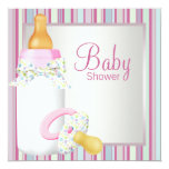 Pink Teal Baby Bottle Pacifier Baby Girl Shower Personalized Invitation