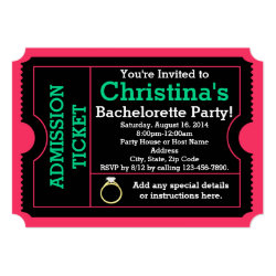 Pink/Teal Bachelorette Party Ticket Invitation 5
