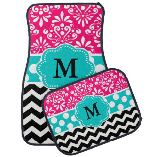 Pink Teal Black Damask Chevron Monogram Car Mat