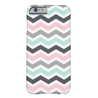 Pink Teal Black Gray Zigzag Chevron Pattern Barely There iPhone 6 Case