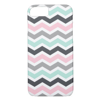 Pink Teal Black Gray Zigzag Chevron Pattern iPhone 7 Case