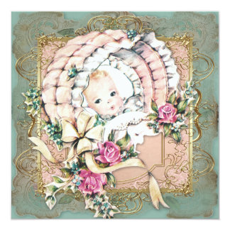 Pink Teal Blue and Gold Vintage Girl Baby Shower Card