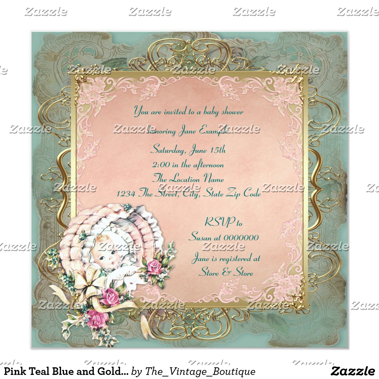 pink_teal_blue_and_gold_vintage_girl_baby_shower ...