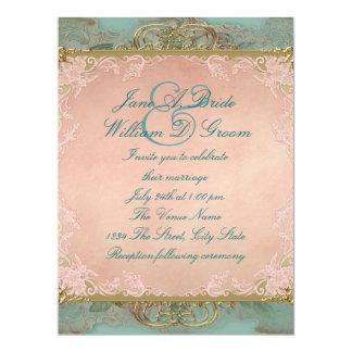 Pink Teal Blue and Gold Vintage Wedding Card
