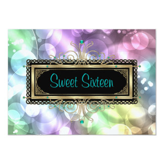 Pink Teal Blue Bubbles Sweet Sixteen Birthday Part Card