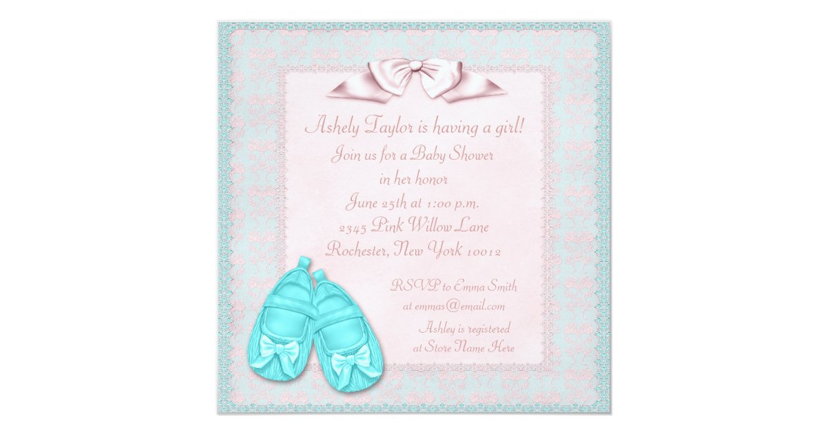 pink teal blue dress baby shower invitations zazzle
