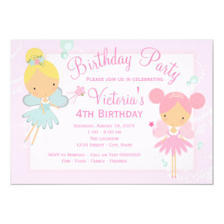 Pink Teal Blue Fairy Princess Girl Birthday Party Card
