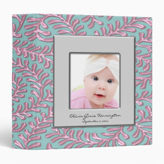 Pink & Teal Blue Photo Frame Baby Album 3 Ring Binder