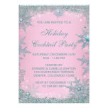 Pink Teal Blue Snowflake Christmas Party Personalized Invites