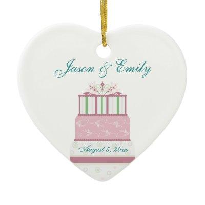 Pink Teal Blue Wedding Cake Wedding Ornament by decembermorning