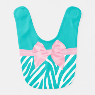 Pink Teal Bow Zebra Personalized Bib