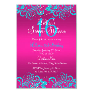 Pink & Teal Bright Floral Swirl Sweet 16 Invite