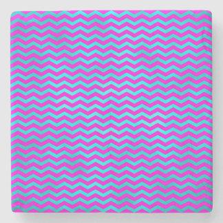 Pink Teal Chevron Metallic Faux Foil Pattern Stone Coaster