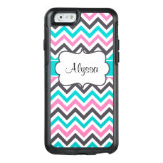 Pink Teal Chevron Personalized OtterBox iPhone 6/6s Case