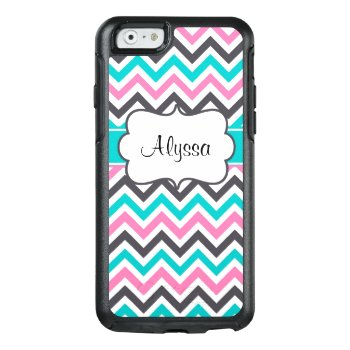 Pink Teal Chevron Personalized Otterbox Iphone 6/6s Case by mybabytee at Zazzle
