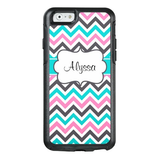 Pink Teal Chevron Personalized OtterBox iPhone 6/6s Case : Zazzle