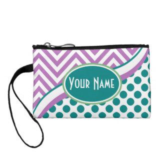 Pink Teal Chevron Polka Dots Monogram Coin Wallet