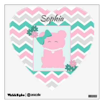 Art Themed Pink Teal Chevron with Girl Bear Wearing Pearls Wall Decal