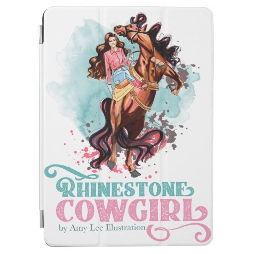 Pink Teal Cowgirl Rodeo Horse iPad Cover