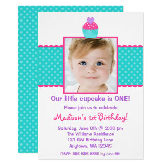 Pink Teal Cupcake 1st Birthday Girl Photo Card