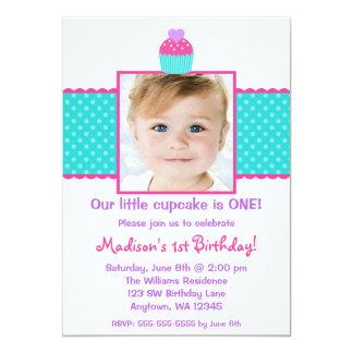 Pink Teal Cupcake 1st Birthday Girl Photo Card