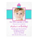 Pink Teal Cupcake 1st Birthday Girl Photo Custom Invitations