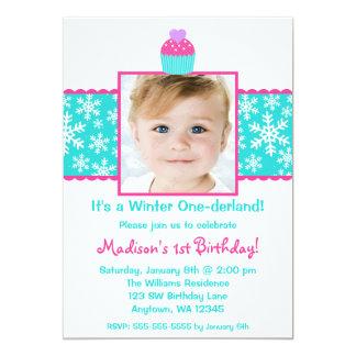 Pink Teal Cupcake Snowflake Birthday Girl Photo Card