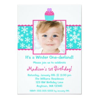 Pink Teal Cupcake Snowflake Birthday Girl Photo 5x7 Paper Invitation Card