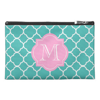Pink/Teal Custom Monogram Travel Accessory Bag
