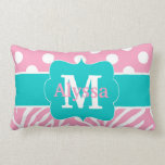 Pink Teal Dots Zebra Personalized Pillow