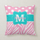 Pink Teal Dots Zebra Personalized Throw Pillows