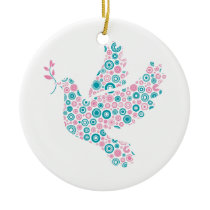 Pink & Teal DOVE/RIBBON ornament