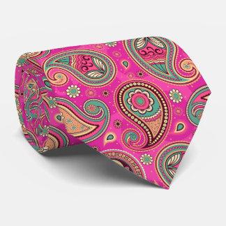 Pink teal elegant vintage paisley pattern tie