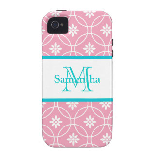 Pink Teal Geometric Floral Monogram iPhone 4/4S Covers