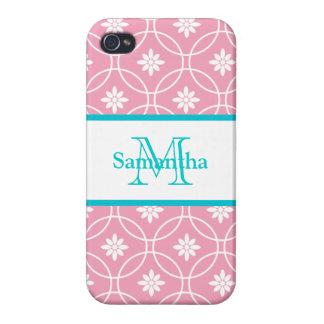 Pink Teal Geometric Floral Monogram iPhone 4 Covers