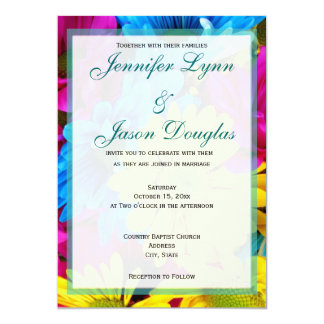Pink Teal Gerber Daisy Flowers Wedding Invitations
