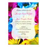"Pink Teal Gerber Daisy Flowers Wedding Invitations 5"" X 7"" Invitation Card"