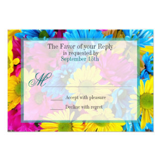 Pink Teal Gerber Daisy Flowers Wedding RSVP Invites