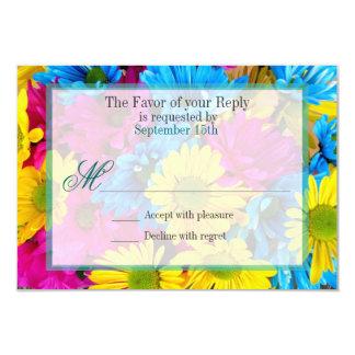 Pink Teal Gerber Daisy Flowers Wedding RSVP 3.5x5 Paper Invitation Card