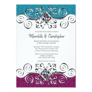 Pink + Teal Glitter Silver Bling Wedding