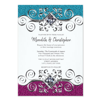 Pink + Teal Glitter Silver Bling Wedding Card