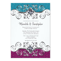 Pink Teal Glitter Silver Bling Wedding Invitation