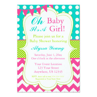 Pink Teal Green Baby Shower Invite