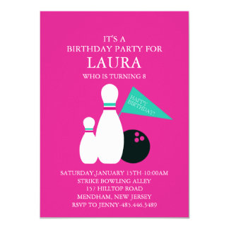 Bowling party invitations announcements zazzle pink amp teal kids bowling party birthday invitation stopboris Choice Image