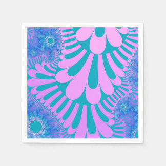 Pink Teal Loop Pattern Paper Napkins