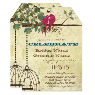 Pink Teal Love Birds Sitting In A Tree Wedding Card