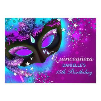 Pink & Teal Masquerade Quinceanera Invitation